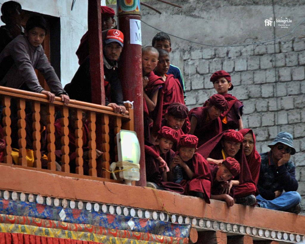 Trainee monks watching the dance