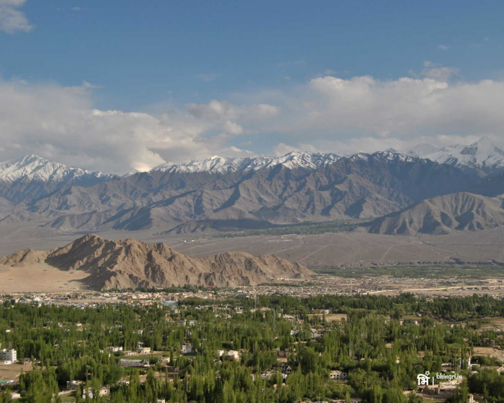 View of the mountains and Leh town below
