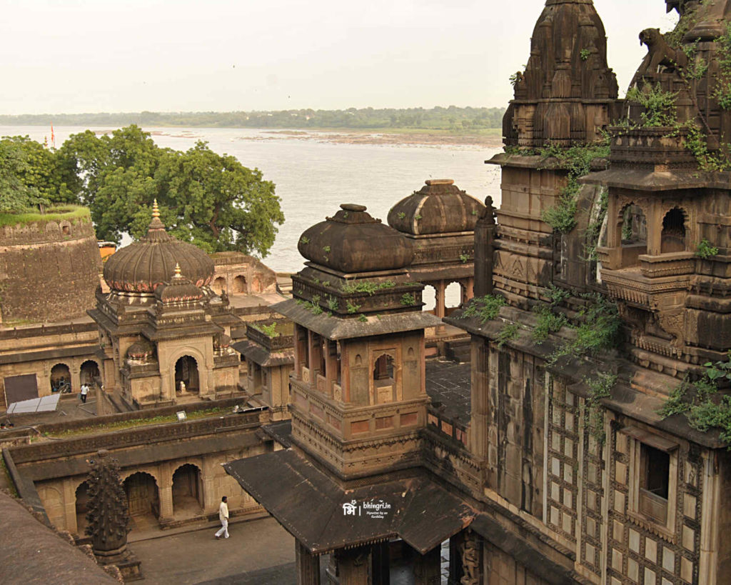 View of river Narmada and temples from the fort