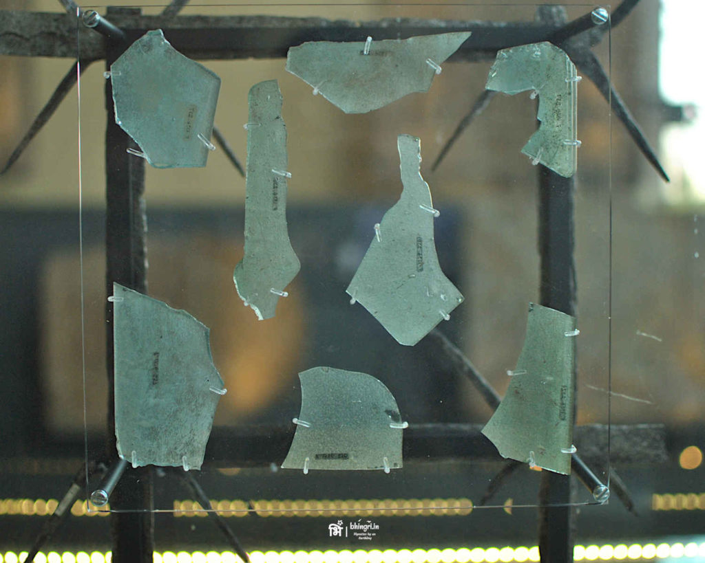 Glass window pieces found on one of the fortlets on the Antonine wall