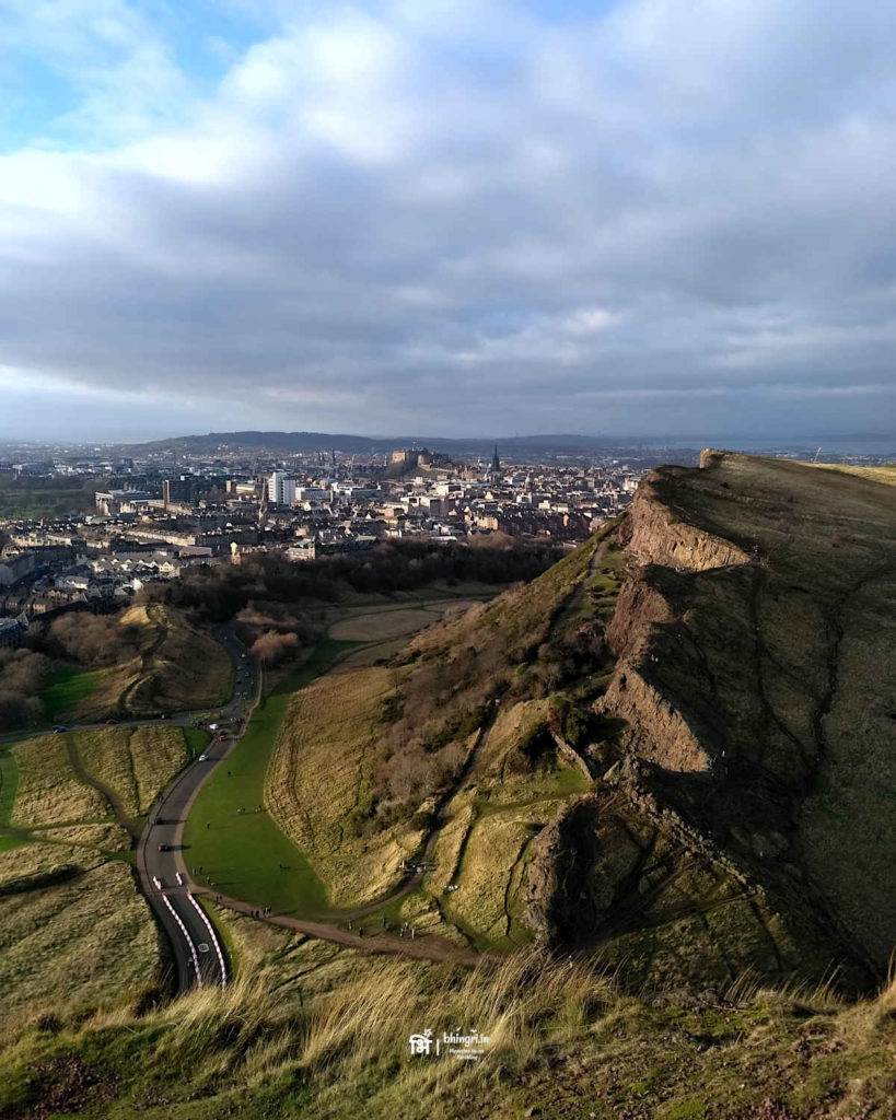 Picturesque view of Salisbury Crags from the Arther's Seat point