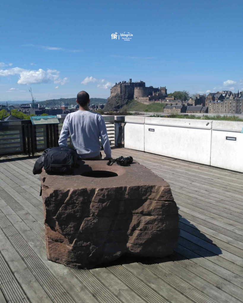 These sandstone rock sculptures (on which I'm leaning) are dedicated to an Edinburgh geologist James Hutton