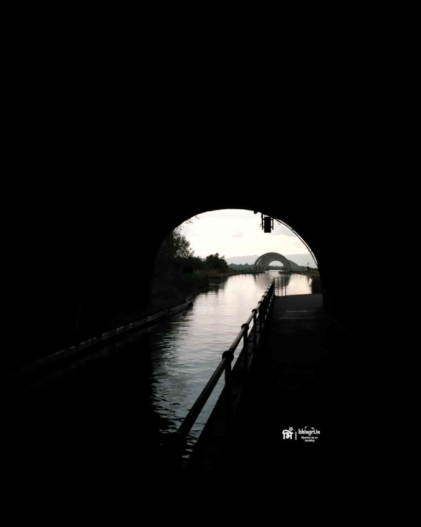 The Union Canal was diverted and through this tunnel brought towards the wheel location