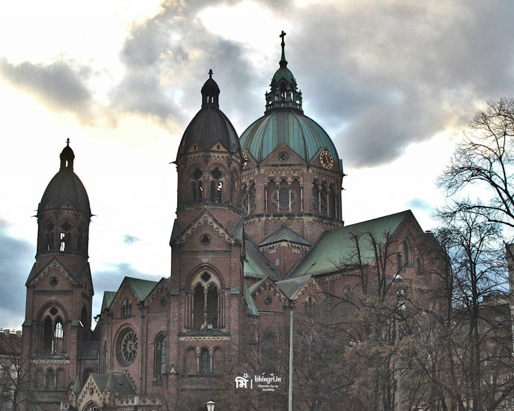 Domes of the 19th century historic church, St Lukas, by the river Israr.