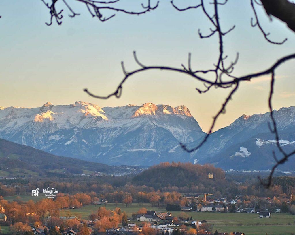 On the other side, Festung Hohensalzburg gives a picturesque view of the Alps