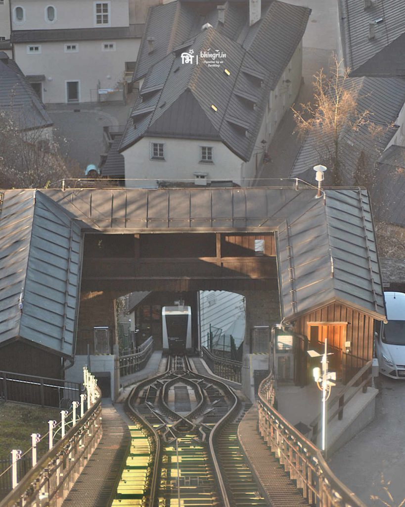 """View from inside the funicular railway carriage on the way to the castle. Almost feels like being in """"Inception""""."""